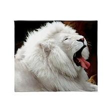 White Lion L print Throw Blanket