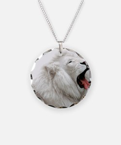 White Lion round orn Necklace