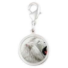 White Lion round orn Silver Round Charm