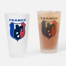 rugby player shield france flag Drinking Glass