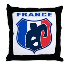 rugby player shield france flag Throw Pillow