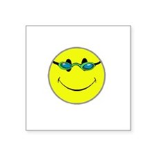 "Don't Worry Swim Happy. Square Sticker 3"" x 3"""