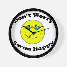 Don't Worry Swim Happy Wall Clock