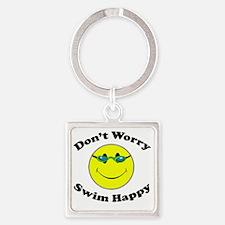 Don't Worry Swim Happy Square Keychain