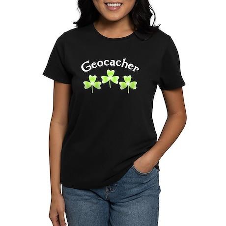 Geocacher 3 Shamrocks Women's Dark T-Shirt