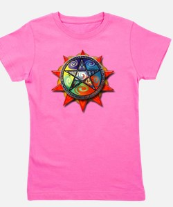 4 elements pentacle red Girl's Tee
