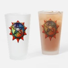 4 elements pentacle red Drinking Glass