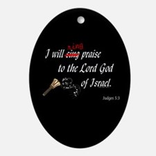 Ring Praise Black Oval Ornament