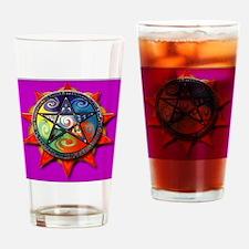 4 elements pentacle purple sq Drinking Glass