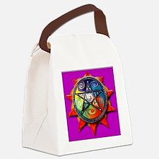 4 elements pentacle purple sq Canvas Lunch Bag