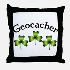 Geocacher 3 Shamrocks Throw Pillow