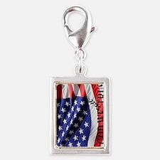 USA Flag: IN GOD WE Still TR Silver Portrait Charm