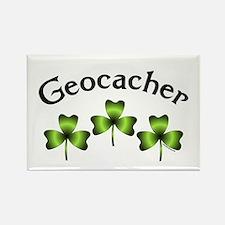 Geocacher 3 Shamrocks Rectangle Magnet