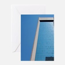 Clear blue sky reflected off glass o Greeting Card