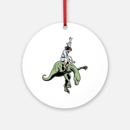 jesus-raptor-col-T Round Ornament
