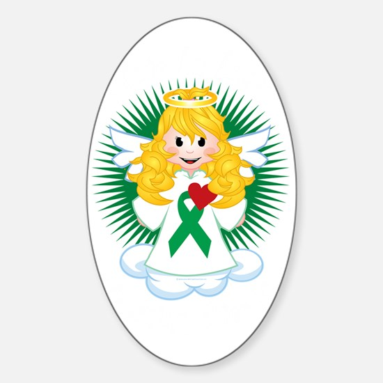 Angel-Watching-Over-Me-Green-Ribbon Sticker (Oval)
