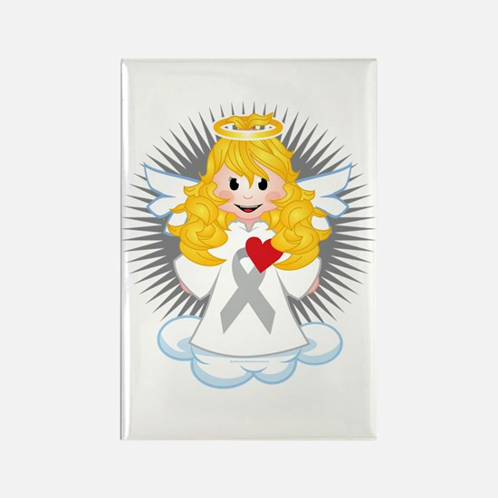 Angel-Watching-Over-Me-Grey-Ribbo Rectangle Magnet