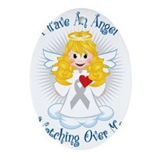 Angel-Watching-Over-Me-Grey-Ribbon-2 Oval Ornament