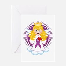 Angel-Watching-Over-Me-Purple-Ribbon Greeting Card