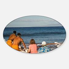 Hawaiian Cultural Canoe Experience Sticker (Oval)