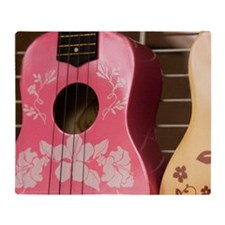 Hawaii, Kona. Two painted ukuleles o Throw Blanket