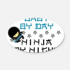 Baby Ninja Blue Oval Car Magnet