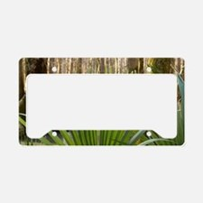 Palmetto leaves inside of a f License Plate Holder