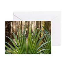 Palmetto leaves inside of a floodpla Greeting Card