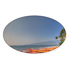 Kayaks on Kihei Beach, Maui, Hawaii Decal