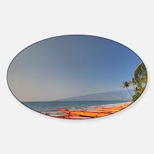 Kayaks on Kihei Beach, Maui, Hawaii Sticker (Oval)