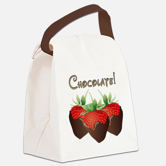 Chocolate Strawberry Canvas Lunch Bag