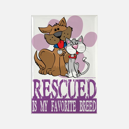 Rescued-Is-My-Favorite-Breed Rectangle Magnet