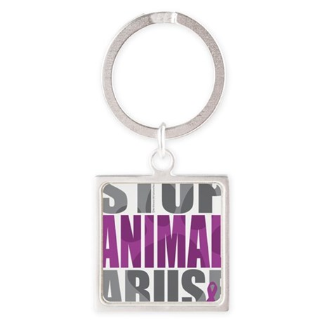 Stop-Animal-Abuse-2010 Square Keychain