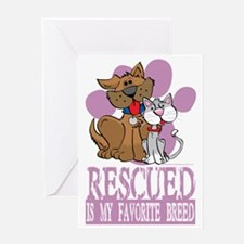 Rescued-Is-My-Favorite-Breed-blk Greeting Card
