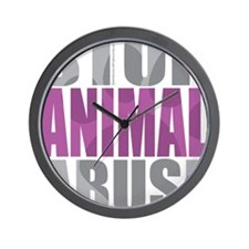 Stop-Animal-Abuse-2010-blk Wall Clock