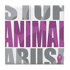 Stop-Animal-Abuse-2010-blk Tile Coaster