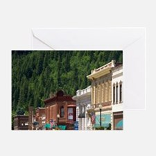 Main street and old brick buildings  Greeting Card