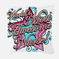 Worlds Most Awesome Nurse Woven Throw Pillow
