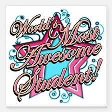 """Worlds Most Awesome Stud Square Car Magnet 3"""" x 3"""""""