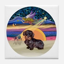 R - Xmas Star - Wire Haired Dachshund Tile Coaster