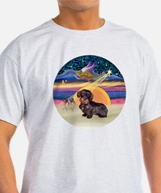 R - Xmas Star - Wire Haired Dachshun T-Shirt