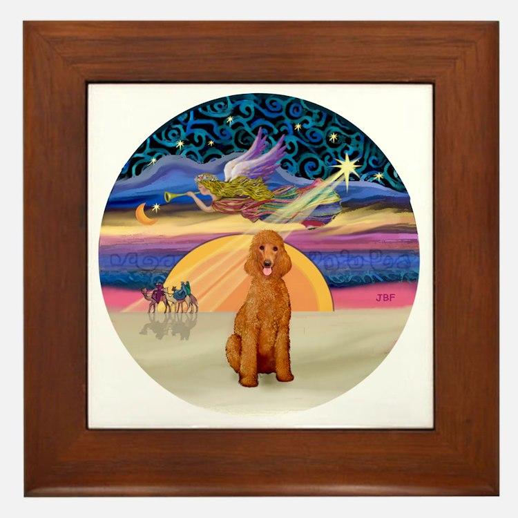Xmas Star - Apricot Standard Poodle Framed Tile