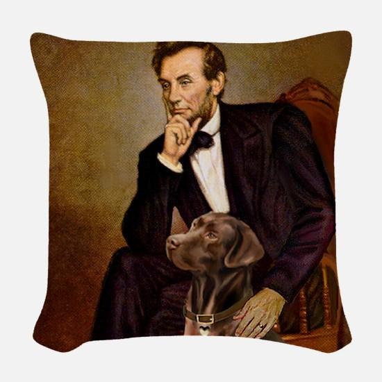 T-Lincoln - Chocolate Labrador Woven Throw Pillow