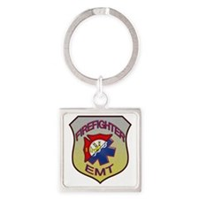 HalfFire_HalfEMT_Badge1 Square Keychain