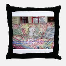 Whimsical Bichon Throw Pillow