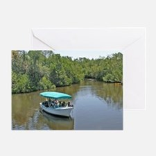 People on tour lake boat approaching Greeting Card