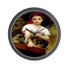 ANTIQUE PRINT GrapePicker Wall Clock