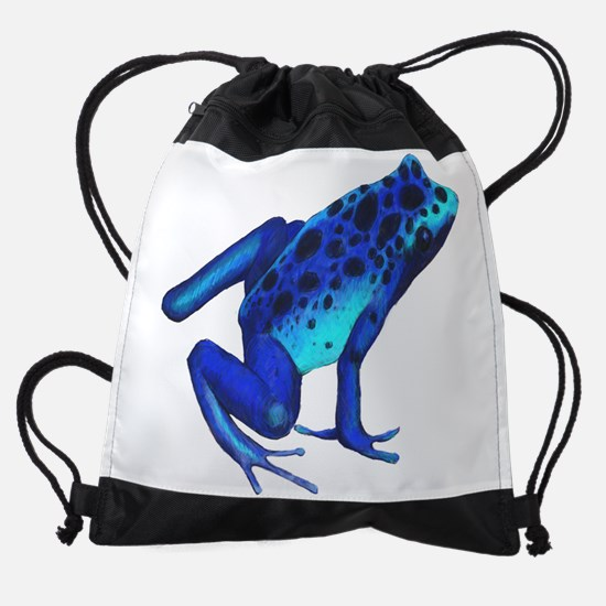 Blue Dart Frog Drawstring Bag