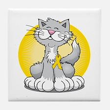 Paws-for--Bladder-Cancer-Cat-blk Tile Coaster