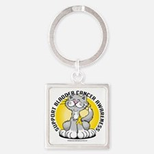 Paws-for--Bladder-Cancer-Cat Square Keychain